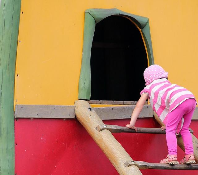 Playground, Child, Climb, Head, High, Climbing Tower