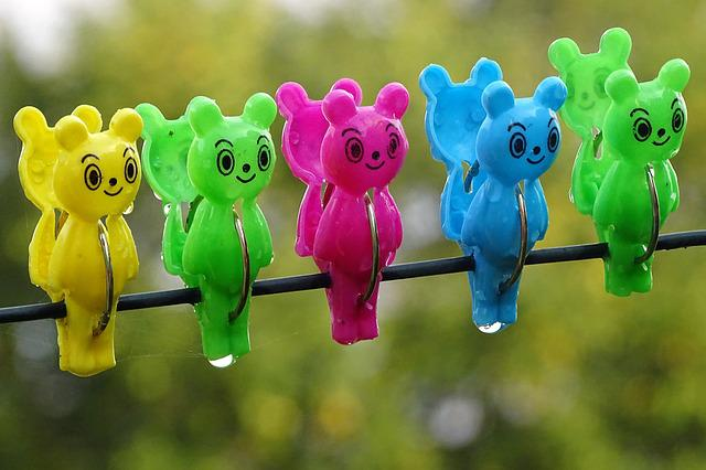Clothes Peg, Clip, Clothes Line, Colorful, Color, Bear