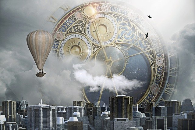 Steampunk, City, Clock, Clock City, Fantasy, Sci-fi
