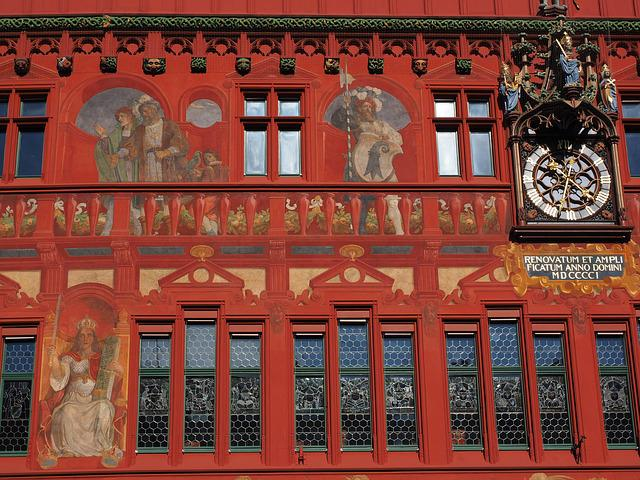 Basel City Hall, Facade, Clock, Town Hall Clock