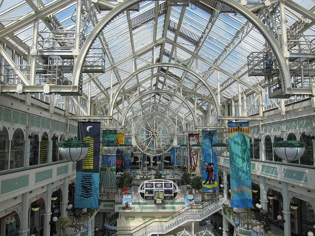 Shopping Mall, Shopping Centre, Clock, Dublin