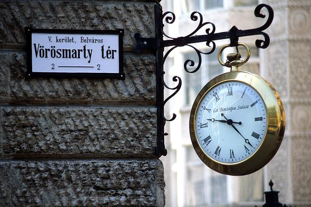 Time, Clock, Old, Street, Budapest