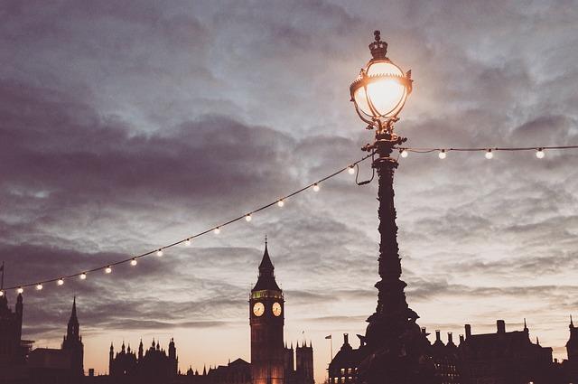 Sky, Clouds, Lamp Post, Lights, String Lights, Clock