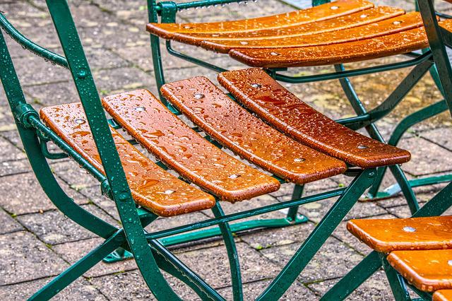 Chair, Drop Of Water, Wet, Close, Macro, Bistro