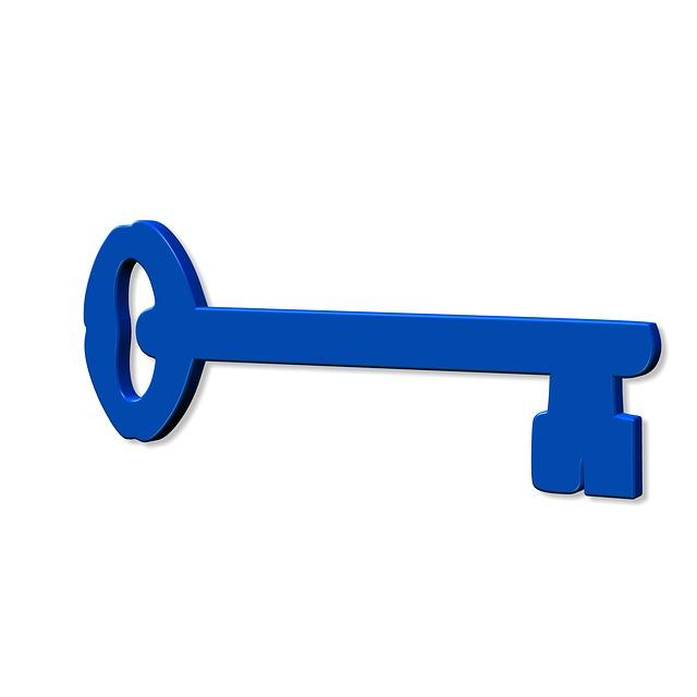 Key, Close, Close To, Lock, Shut Off, Blue, Security