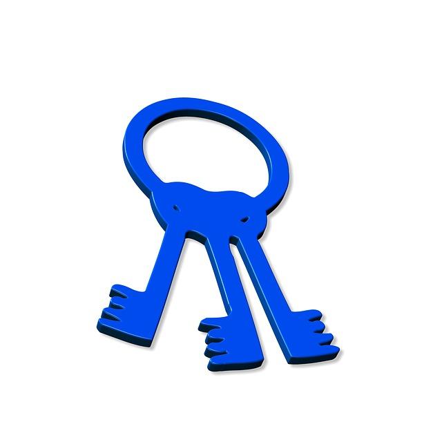 Keychain, Key, Close, Close To, Lock, Shut Off, Blue