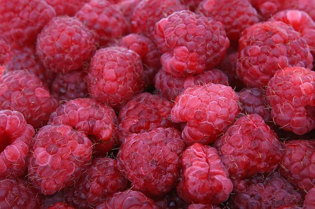Raspberries, Fruit, Berries, Close-up, Colorful