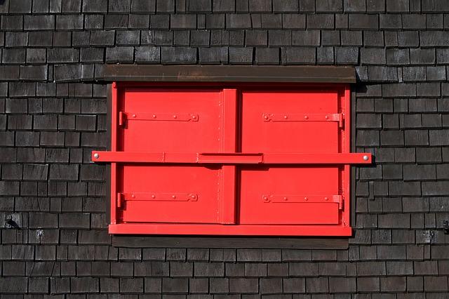 Window, Shutters, Closed, Red, Hut, Wood, Shutter, Old
