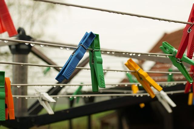 Rain, Clothespins, Clothesline, Rope, Clothes, Hang
