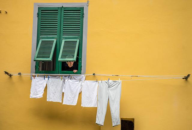 Italy, Woman, Person, People, Laundry, Clothesline