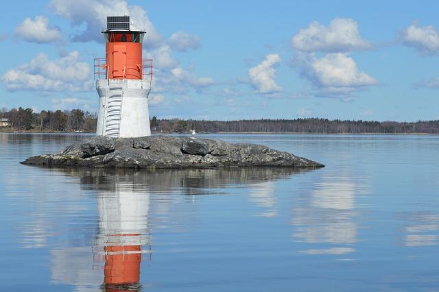 Lighthouse, Sea, Lake, Water, Cloud, Blue Sky