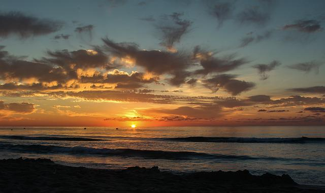 Sunset, Dawn, Waters, Sun, Dusk, Summer, Cloud, Ocean