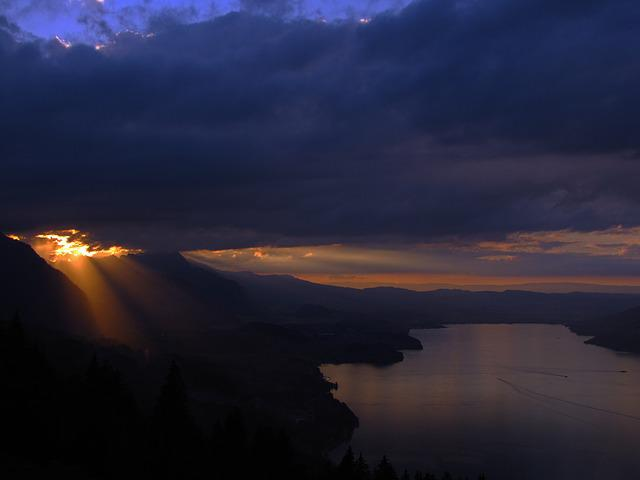 Thunersee, Lake, Sunset, In The Evening, Cloud, Clouds