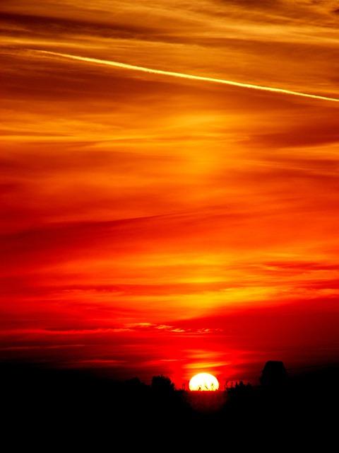 Sun, Sky, Cloud, Red, Twilight, Stripes