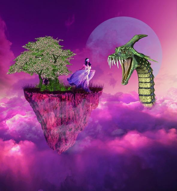 Woman, Snake, Tree, Cloud, Fantasy, Surreal, Moon