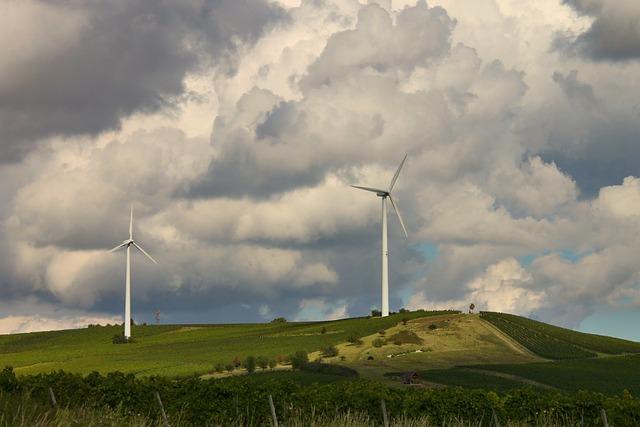 Landscape, Vineyards, Windräder, Clouded Sky