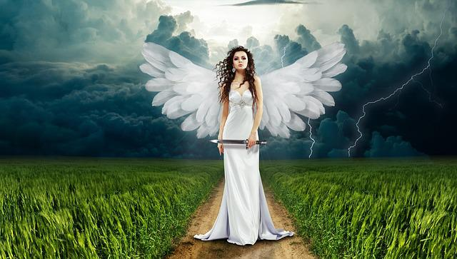 Angel, Knife, Nature, Flash, Clouds, Cloudiness, Grass