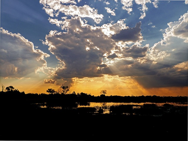 Sunset, Clouds, Sunbeam, Evening, Abendstimmung