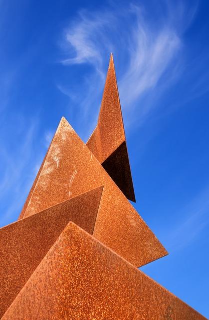 Sculpture, Metal, Rust, Sky, Clouds, Section, Cut, Art