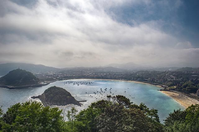 Beach, City, Sky, Panoramic, San Sebastian, Clouds