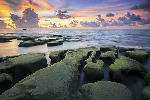 Beach, Beautiful, Calm, Clouds, Moss, Mossy Rocks