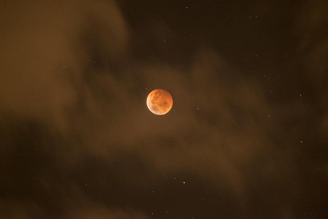 Blood Moon, Lunar Eclipse, Clouds, Stars, Bloodmoon
