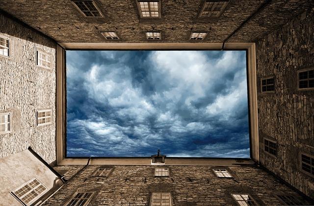 Sky, Clouds, Building, Up, View, Blue, Fantasy, Light