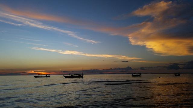 Cambodia, Asia, Sihanoukville, Sea, Beach, Clouds