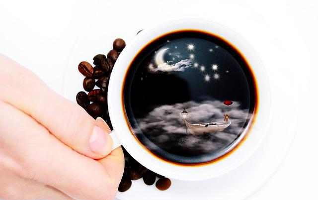 Cup, Coffee Cup, Cup Of Coffee, Moon, Clouds, Fog