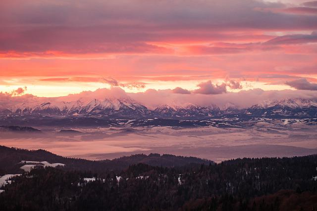 Mountains, Clouds, Sunset, Sunrise, Dawn, Dusk, Peak