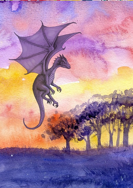 Fantasy, Scene, Dragon, Dark, Evening, Clouds