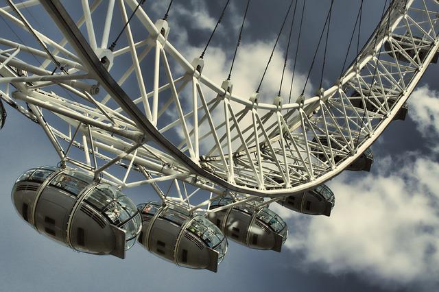 Clouds, Ferris Wheel, London Eye, Sky, Steel