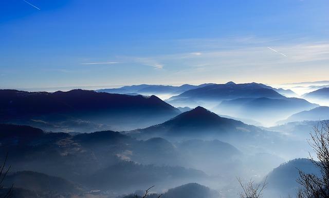 Slovenia, Mountains, Sky, Clouds, Fog, Haze, Mist