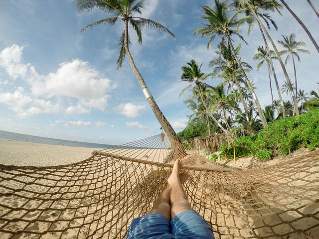 Beach, Hammock, Blue Sky, Clouds, Coconut Trees, Exotic