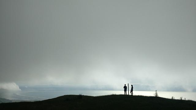 Clouds, Hikers, Hills