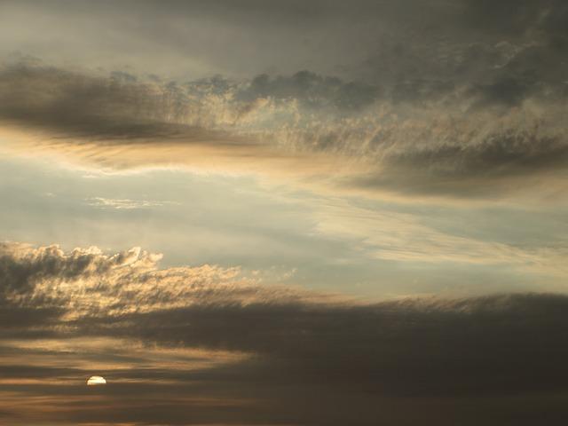 Sunset, Horizon, Clouds, Sky