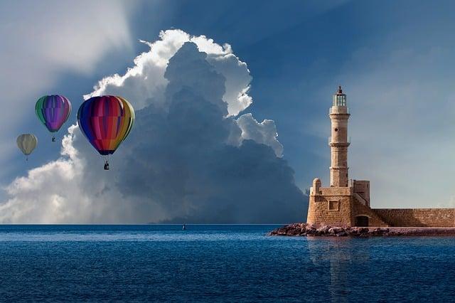 Balloon, Hot Air Balloon Ride, Clouds, Lighthouse