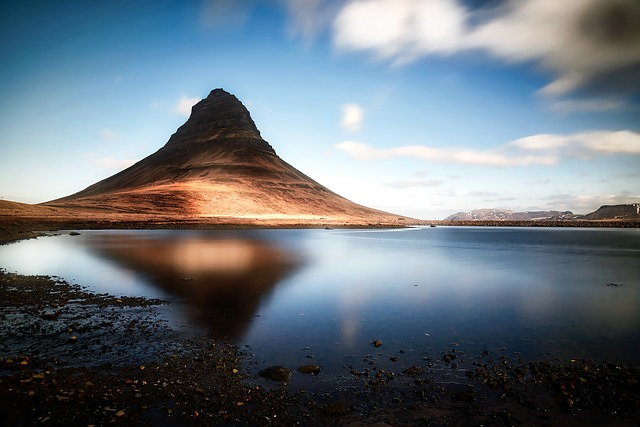 Kirkjufell, Iceland, Mountain, Sky, Clouds, Lake, Water