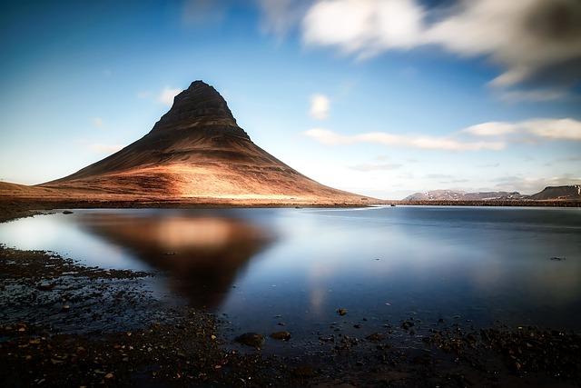 Kirkjufell, Iceland, Mountain, Sky, Clouds, Lake, Water