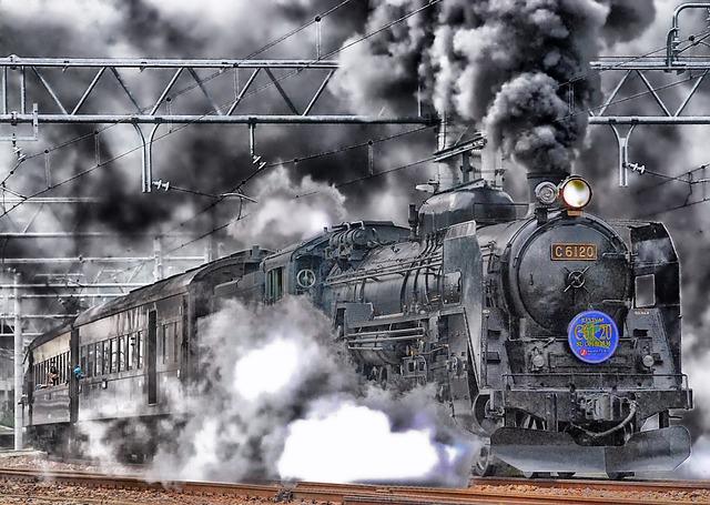 Japan, Train, Locomotive, Hdr, Smoke, Sky, Clouds