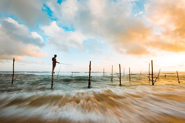 Beach, Clouds, Fishing, Man, Ocean, Person, Sea