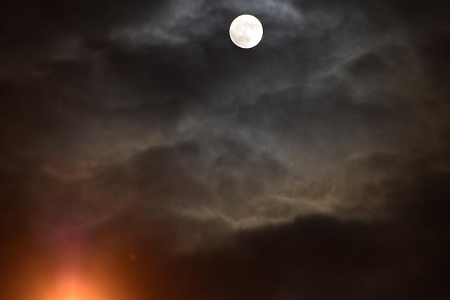 Moon, Full Moon, Sky, Cloudiness, Dark, Clouds, Mood