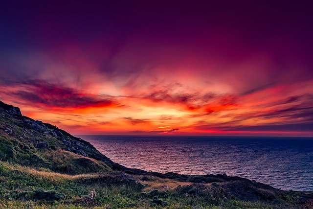 Italy, Sunset, Dusk, Colorful, Sky, Clouds, Mountain