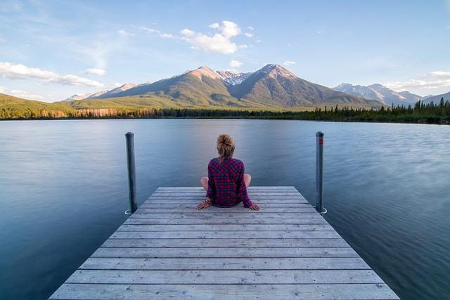 Clouds, Dock, Foliage, Lake, Landscape, Mountain Range