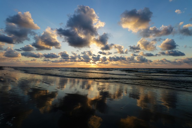 Ocean, Clouds, Sun, Sunrise, Colorful, Beautiful