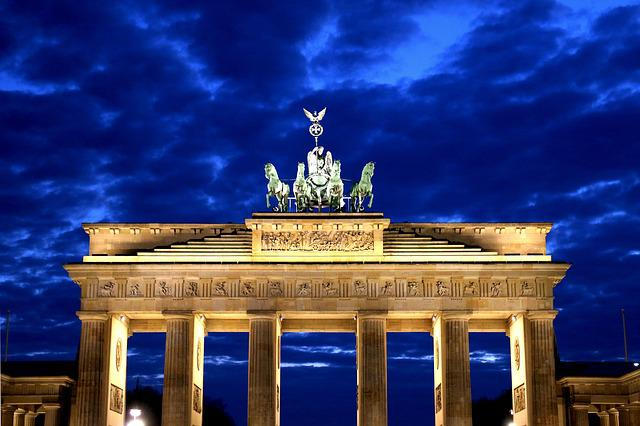Brandenburg Gate, Potsdam Place, Night, Clouds