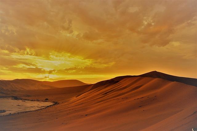 Sunrise, Desert, Sand, Sand Dune, Dunes, Clouds