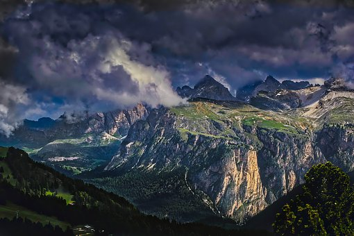 Sella Pass, Italy, Mountains, Sky, Clouds, Landscape