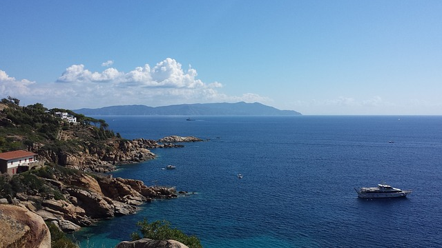 Island Lily, Ships, Landscape, Rocks, Sea, Clouds