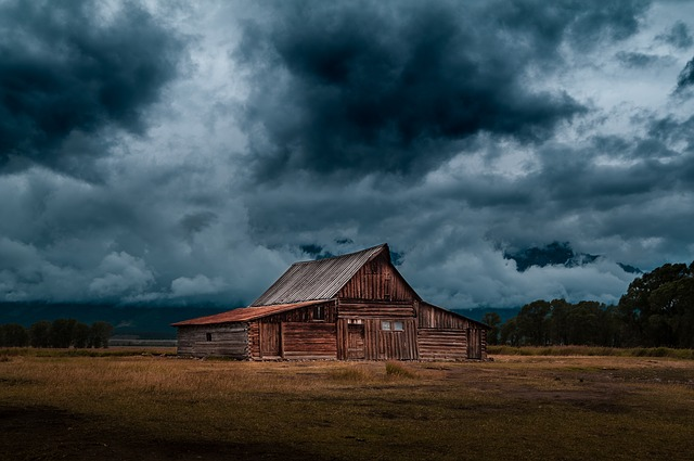 Cabin, Countryside, Storm, Barn, Rural, Sky, Clouds